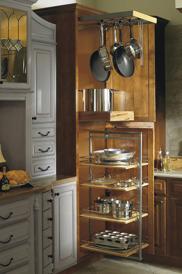 Thomasville Organization UTILITY STORAGE WITH PANTRY PULLOUT AND POTS amp PANS RACK