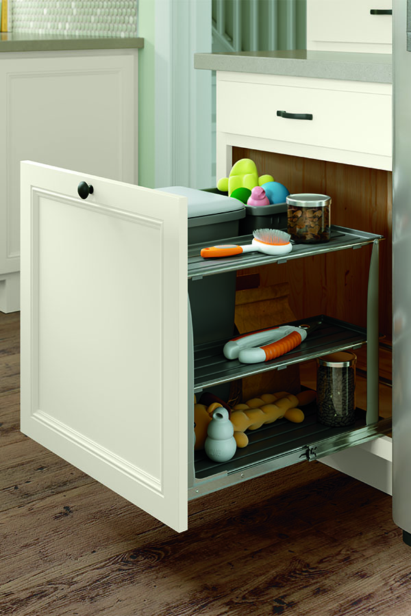BASE BIN TRAY PULLOUT WITH PET FEEDING DRAWER