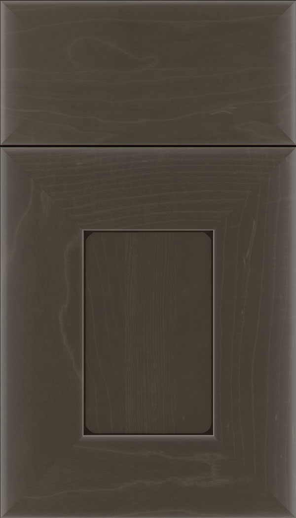 Napoli Maple flat panel cabinet door in Thunder with Black glaze