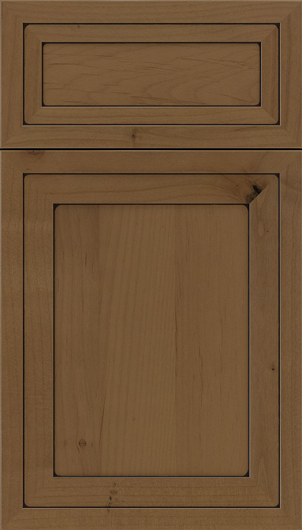 Asher 5pc Alder flat panel cabinet door in Tuscan with Black glaze