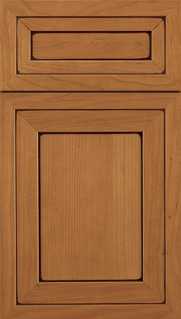 Asher 5-Piece Cherry flat panel cabinet door in Ginger with Mocha glaze