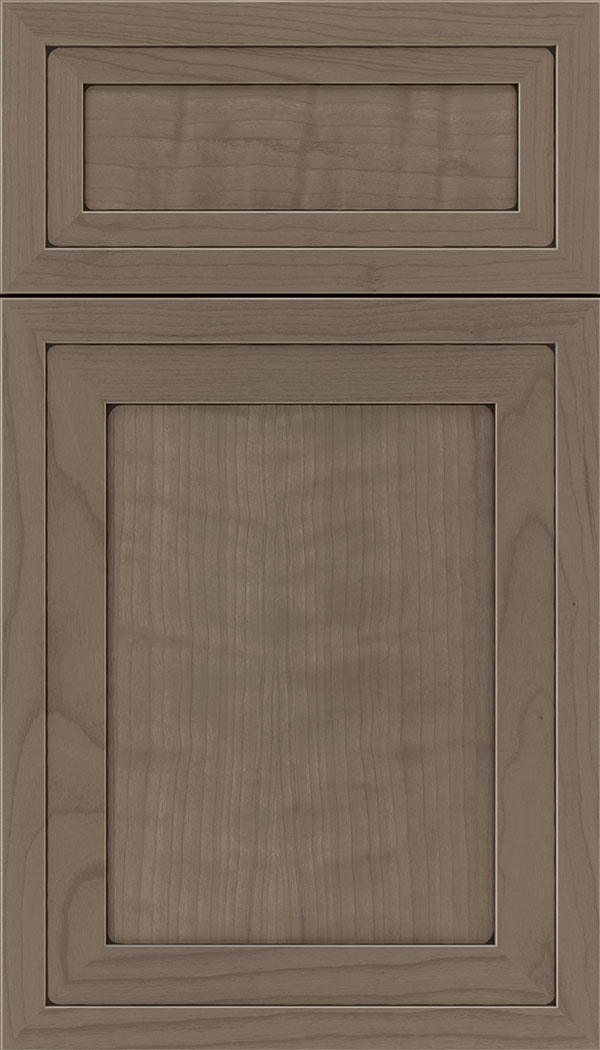 Asher 5pc Cherry flat panel cabinet door in Winter with Black glaze