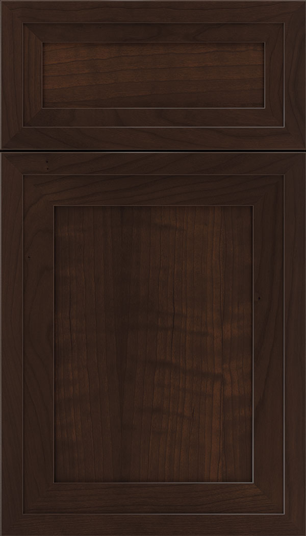 Asher 5pc Cherry flat panel cabinet door in Cappuccino