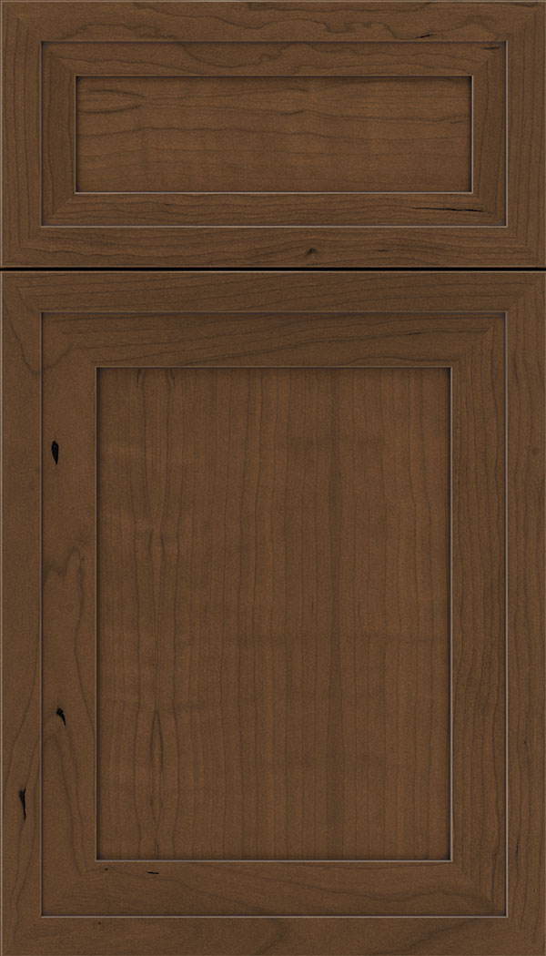 Asher 5pc Cherry flat panel cabinet door in Sienna with Mocha glaze