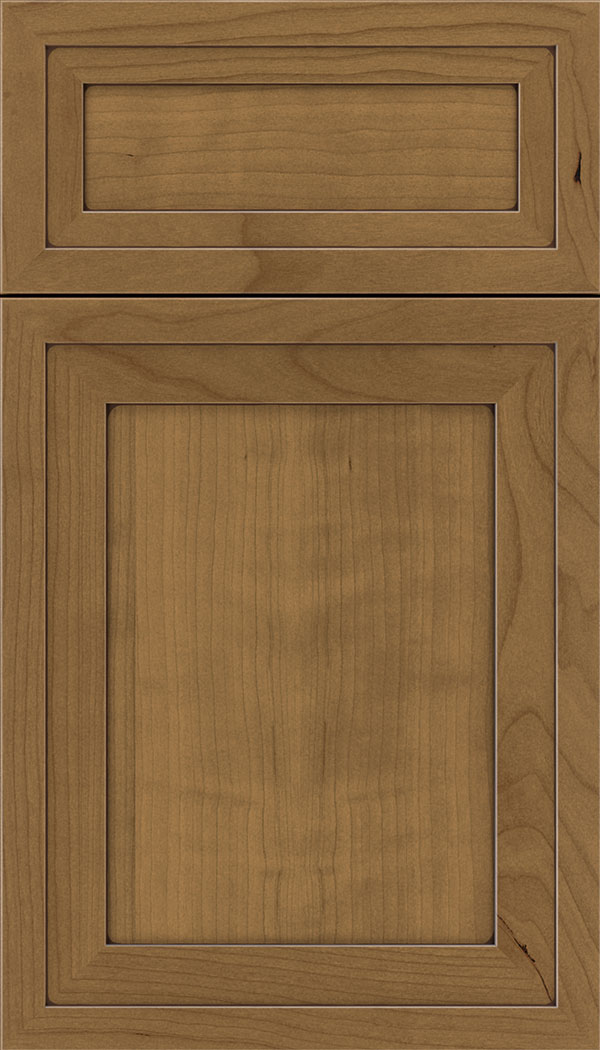 Asher 5pc Cherry flat panel cabinet door in Tuscan with Mocha glaze