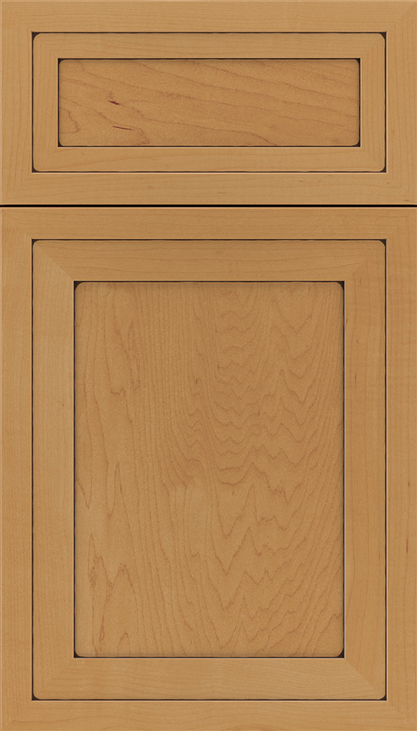 Asher 5pc Maple flat panel cabinet door in Ginger with Black glaze