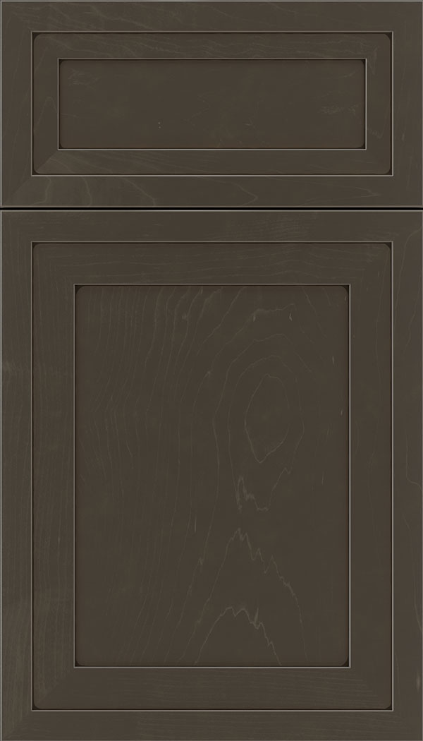 Asher 5pc Maple flat panel cabinet door in Thunder with Black glaze