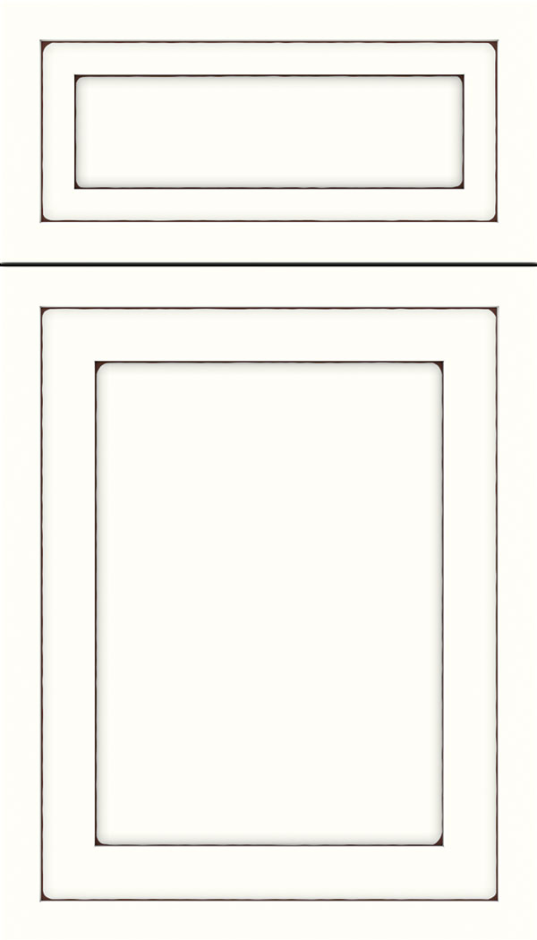 Asher 5pc Maple flat panel cabinet door in Alabaster with Mocha glaze