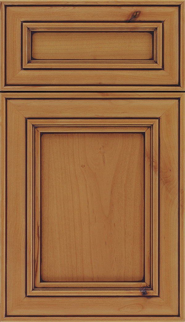 Sheffield 5-Piece Alder recessed panel cabinet door in Ginger with Mocha glaze