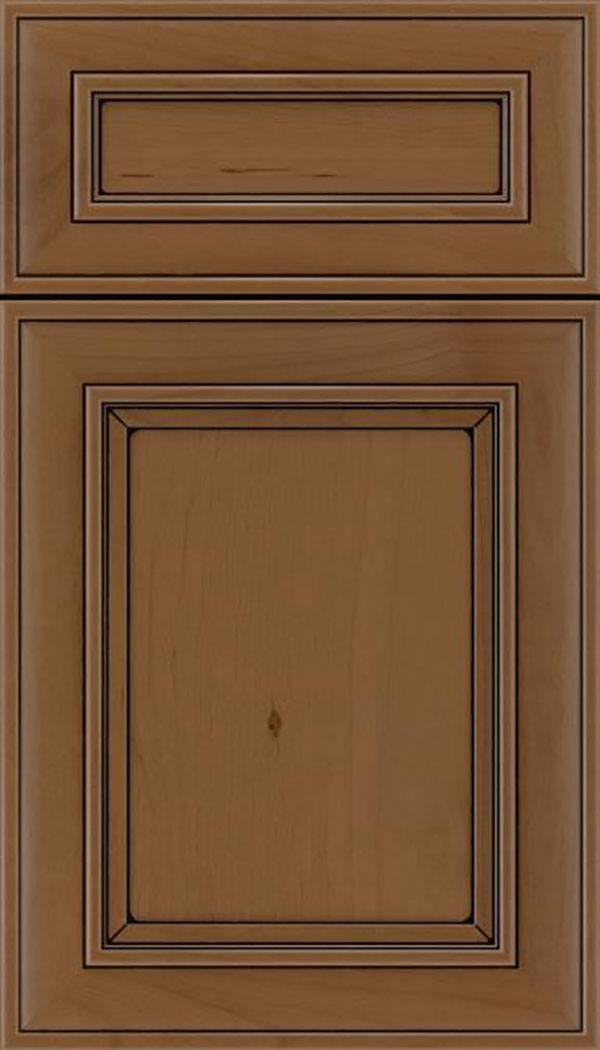 Sheffield 5pc Alder recessed panel cabinet door in Tuscan with Black glaze