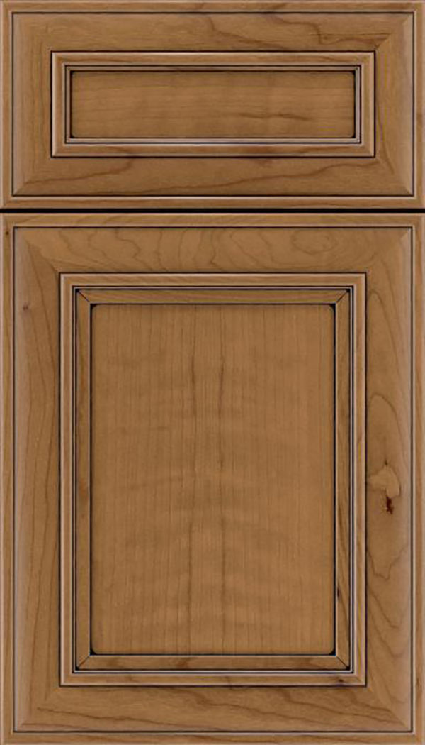 Sheffield 5pc Cherry recessed panel cabinet door in Tuscan with Black glaze