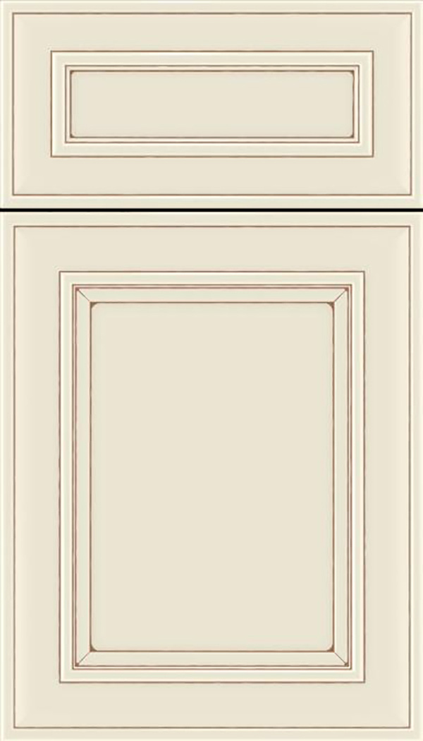 Sheffield 5pc Maple recessed panel cabinet door in Seashell with Suede glaze