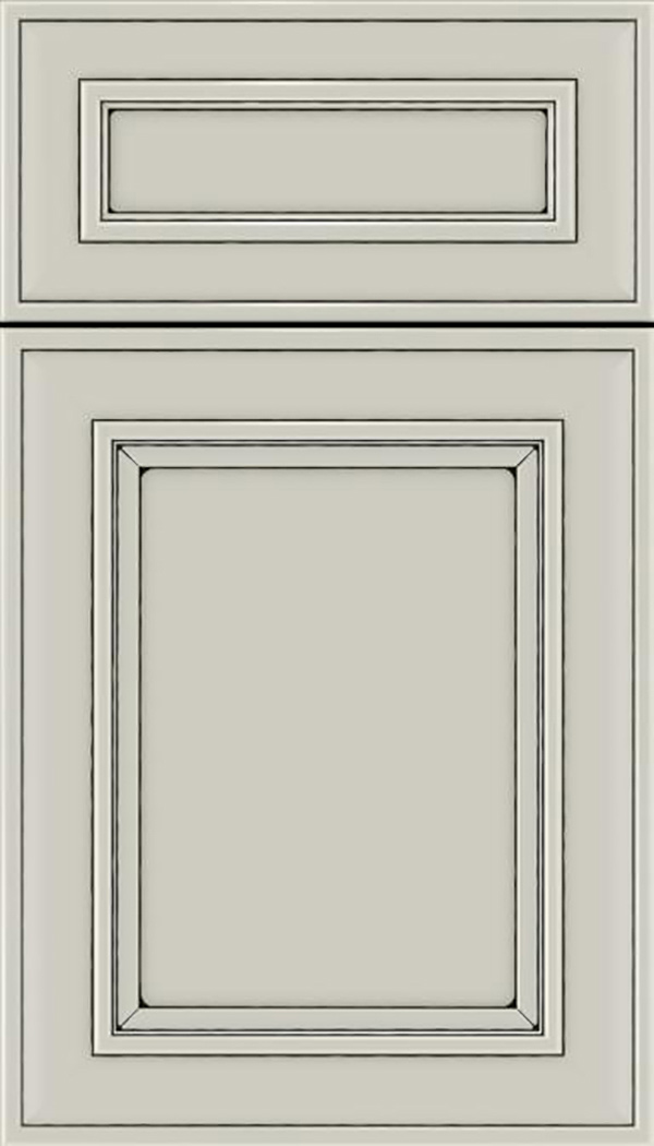 Sheffield 5pc Maple recessed panel cabinet door in Cirrus with Black glaze