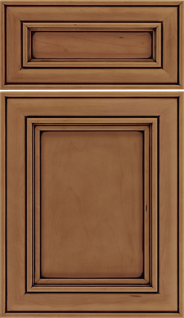 Sheffield 5pc Maple recessed panel cabinet door in Tuscan with Black glaze
