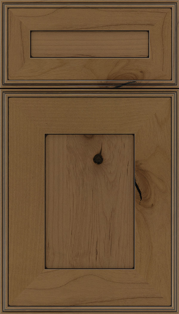 Elan 5pc Alder flat panel cabinet door in Tuscan with Black glaze