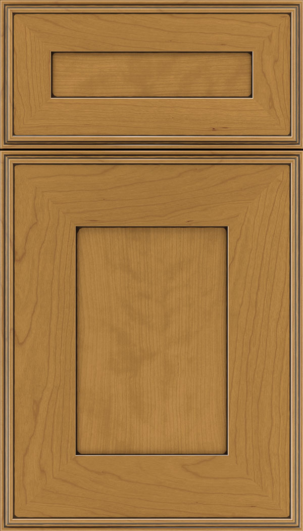 Elan 5pc Cherry flat panel cabinet door in Ginger with Black glaze