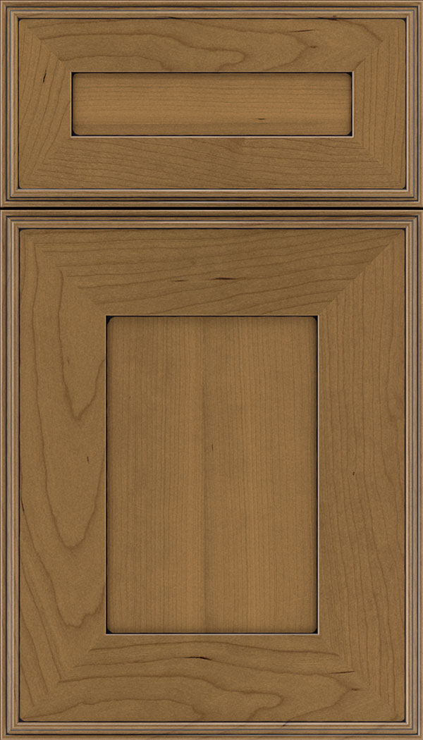 Elan 5pc Cherry flat panel cabinet door in Tuscan with Black glaze