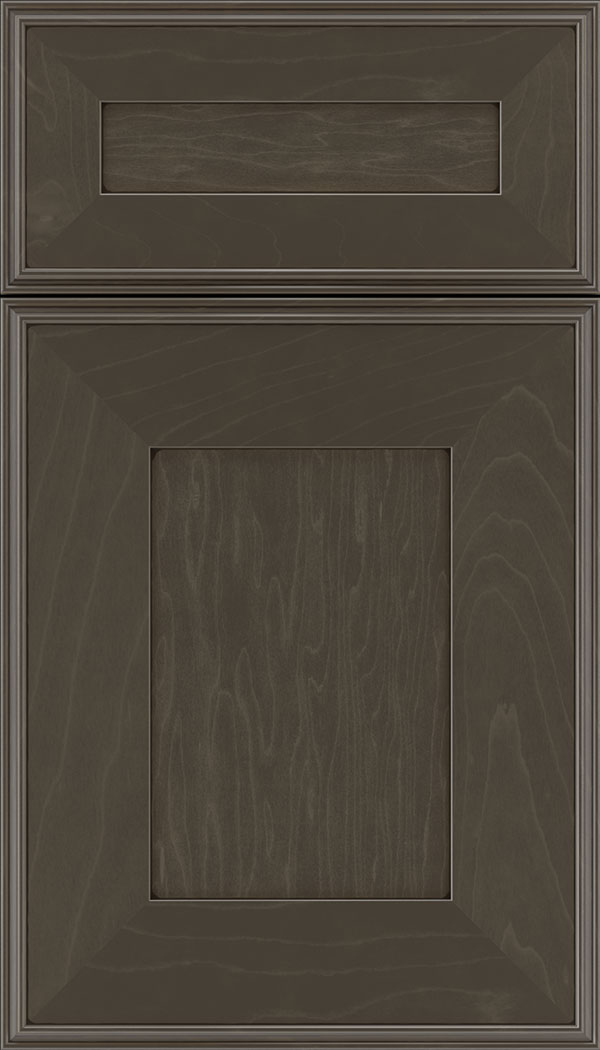 Elan 5pc Maple flat panel cabinet door in Thunder with Black glaze