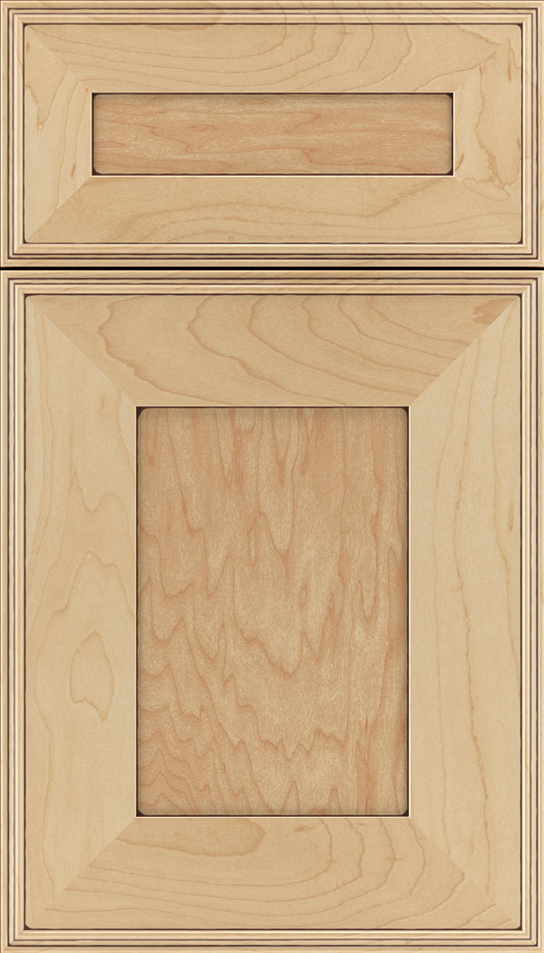 Elan 5pc Maple flat panel cabinet door in Natural with Mocha glaze
