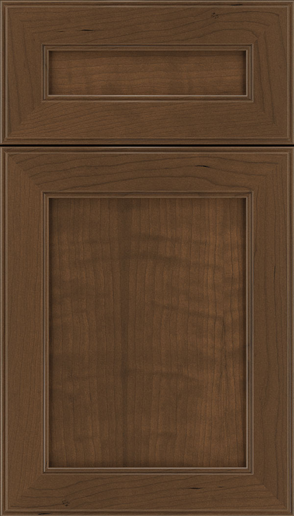 Chelsea 5pc Cherry flat panel cabinet door in Sienna