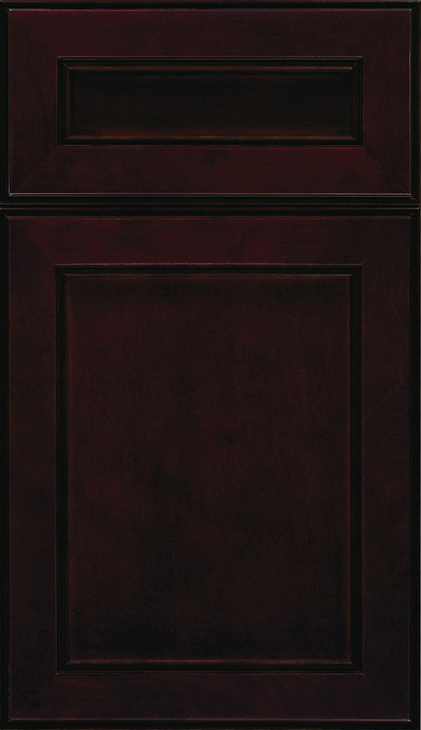 Chelsea 5-Piece Cherry flat panel cabinet door in Espresso with Black glaze
