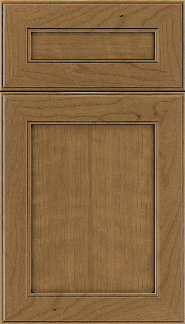 Chelsea 5pc Cherry flat panel cabinet door in Tuscan with Black glaze