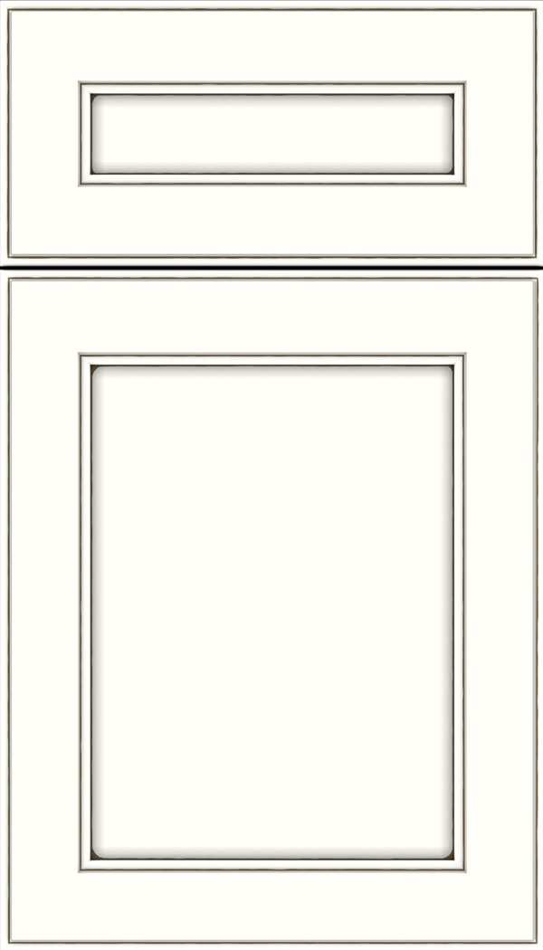 Chelsea 5pc Maple flat panel cabinet door in Alabaster with Smoke glaze