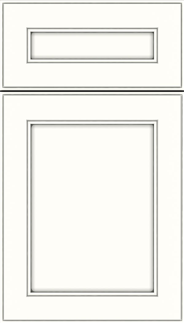 Chelsea 5pc Maple flat panel cabinet door in Alabaster with Pewter glaze