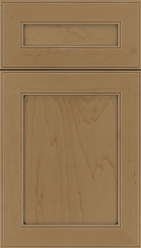 Chelsea 5pc Maple flat panel cabinet door in Tuscan with Black glaze