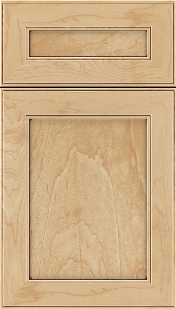 Chelsea 5pc Maple flat panel cabinet door in Natural with Mocha glaze