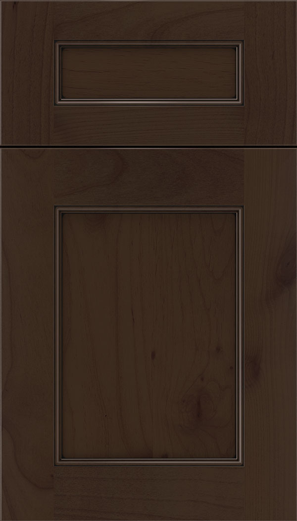 Lexington 5pc Alder recessed panel cabinet door in Cappuccino with Black glaze