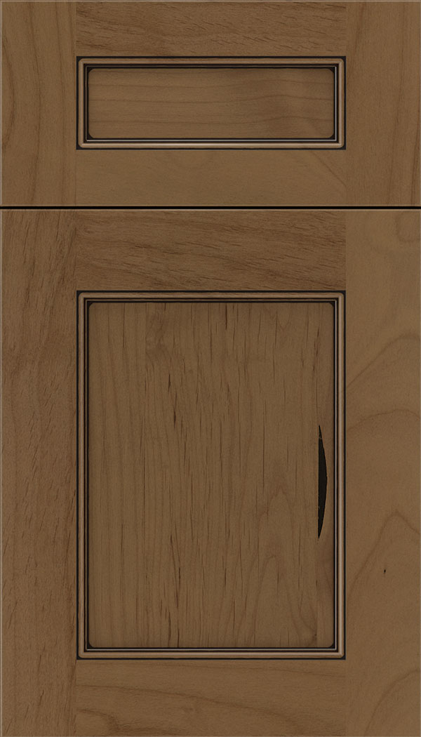 Lexington 5pc Alder recessed panel cabinet door in Tuscan with Black glaze