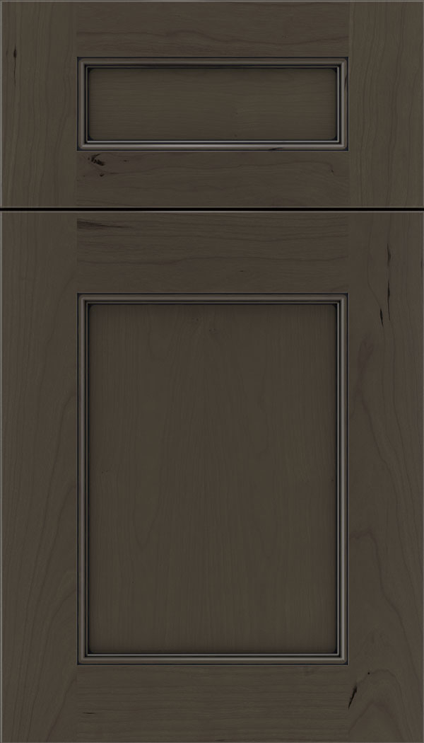 Lexington 5pc Cherry recessed panel cabinet door in Thunder with Black glaze