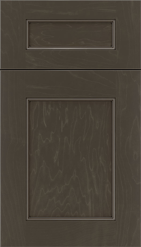 Lexington 5pc Maple recessed panel cabinet door in Thunder with Black glaze