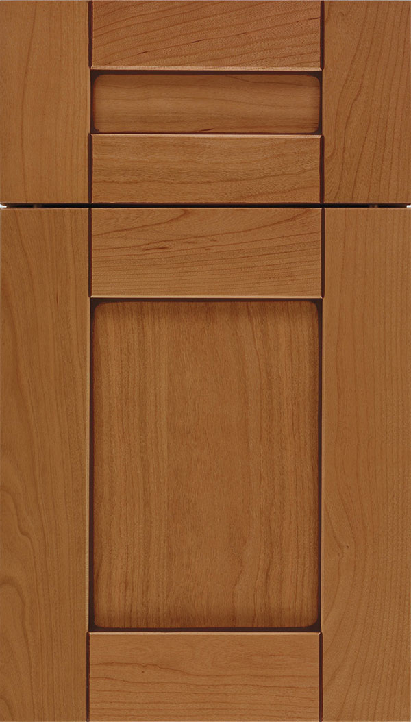 Pearson 5pc Cherry flat panel cabinet door in Ginger with Mocha glaze