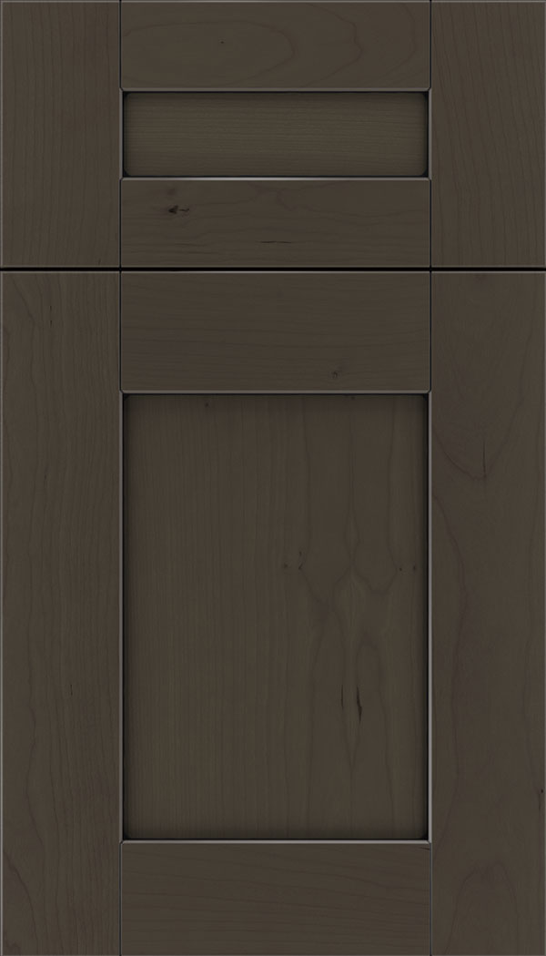 Pearson 5pc Cherry flat panel cabinet door in Thunder with Black glaze