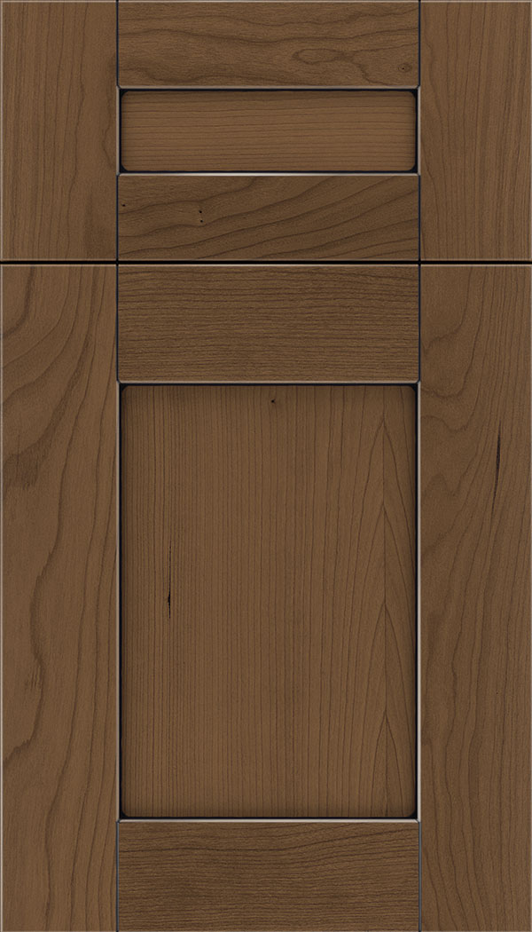 Pearson 5pc Cherry flat panel cabinet door in Toffee with Black glaze