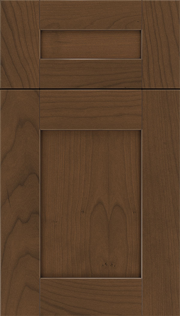 Pearson 5pc Cherry flat panel cabinet door in Sienna with Mocha glaze