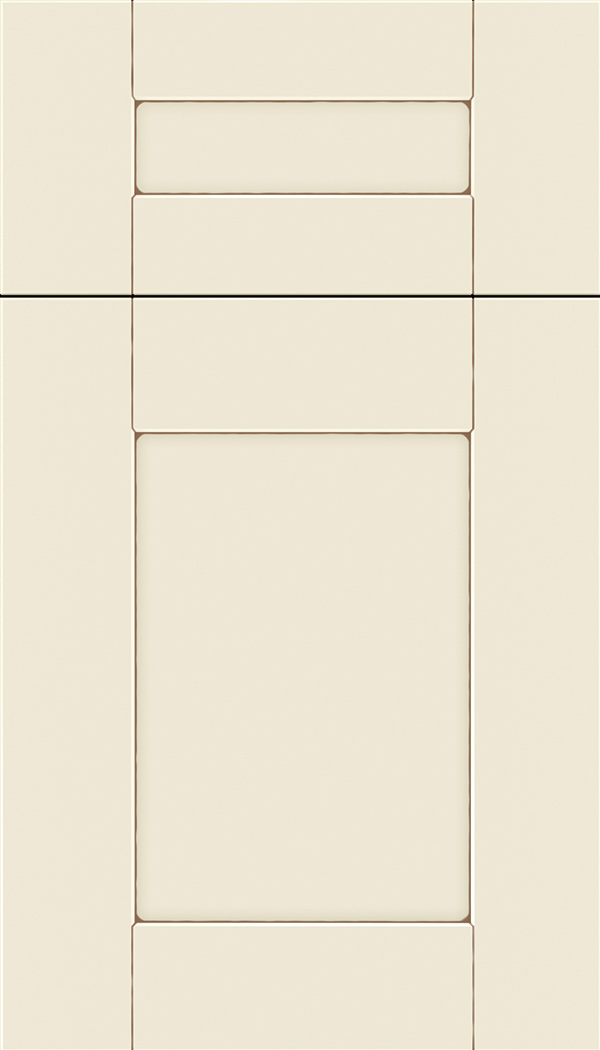 Pearson 5pc Maple flat panel cabinet door in Seashell with Suede glaze
