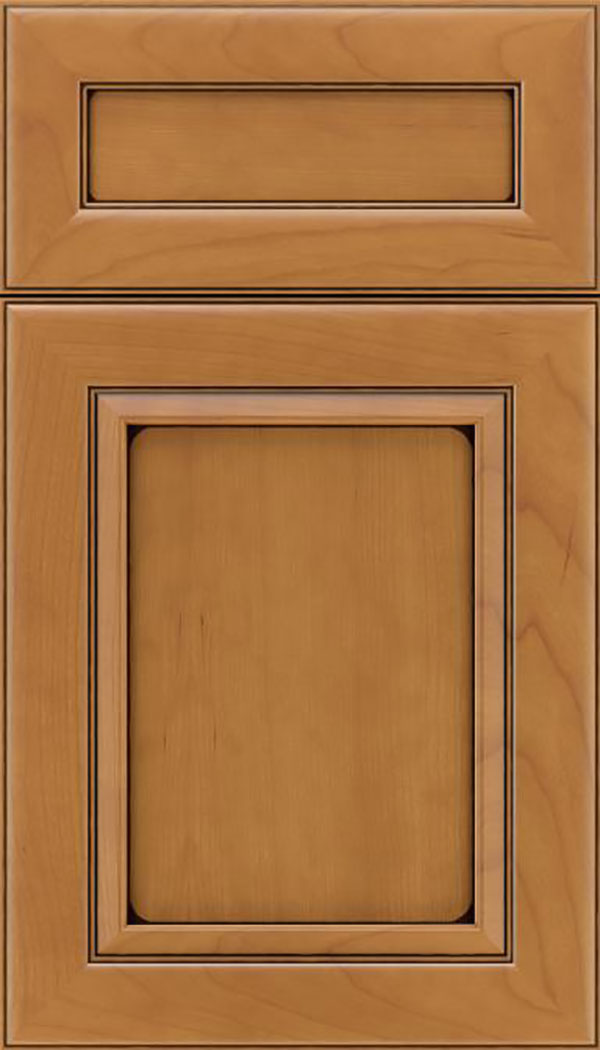 Paloma 5pc Cherry flat panel cabinet door in Ginger with Black glaze