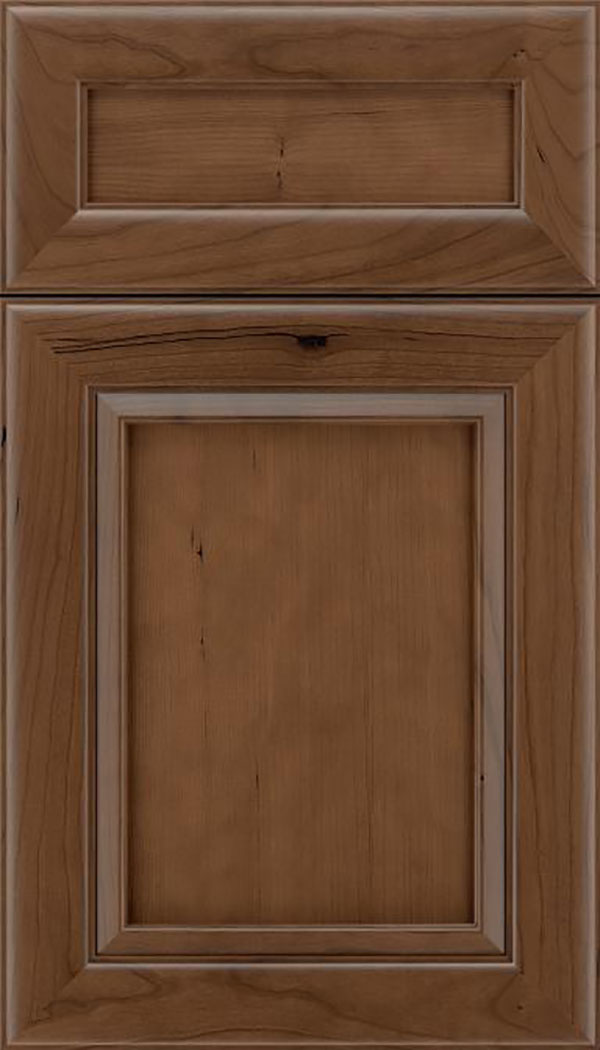 Paloma 5pc Cherry flat panel cabinet door in Toffee
