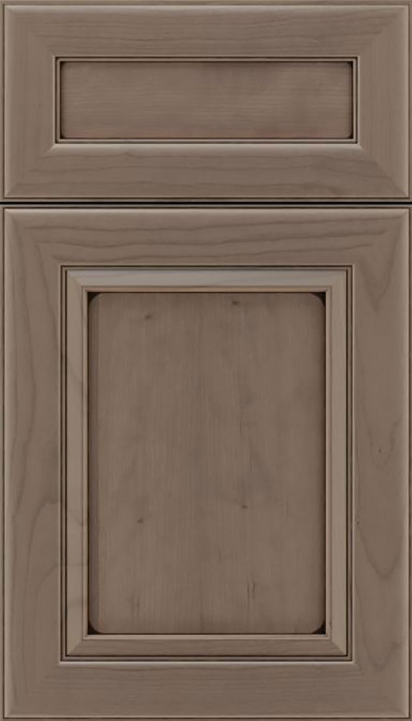 Paloma 5pc Cherry flat panel cabinet door in Winter with Black glaze