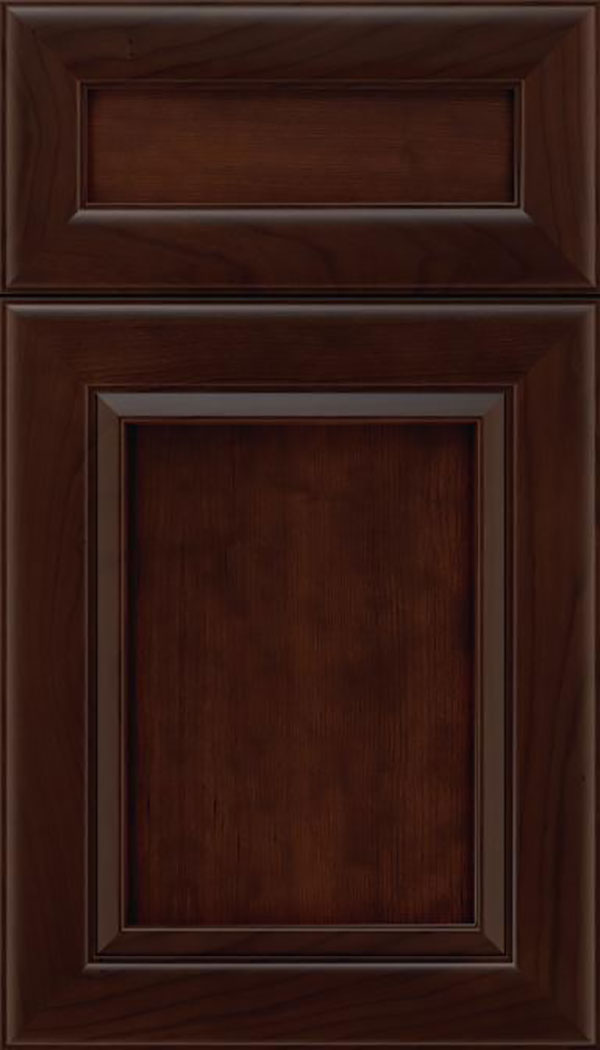 Paloma 5pc Cherry flat panel cabinet door in Cappuccino