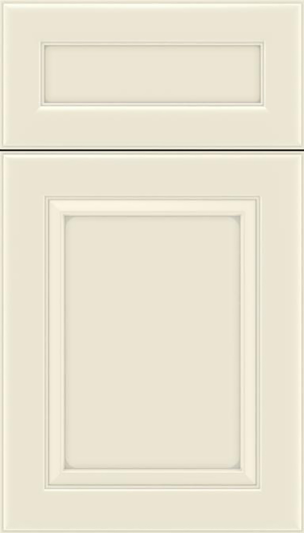 Paloma 5pc Maple flat panel cabinet door in Seashell with Pewter glaze