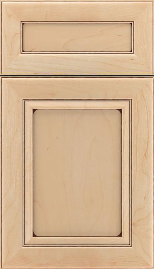 Paloma 5pc Maple flat panel cabinet door in Natural with Mocha glaze