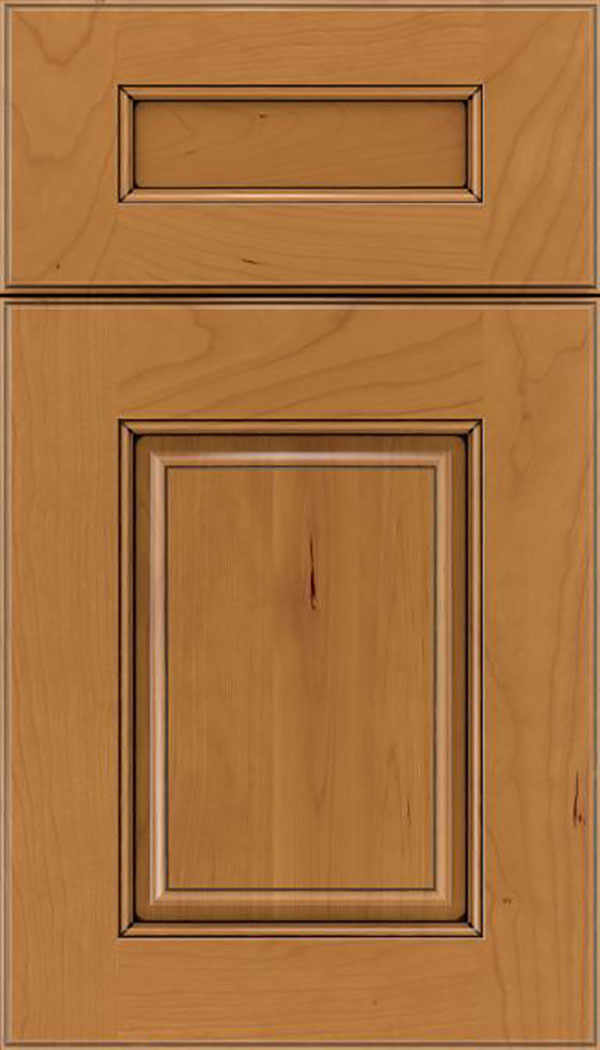 Whittington 5pc Cherry raised panel cabinet door in Ginger with Black glaze
