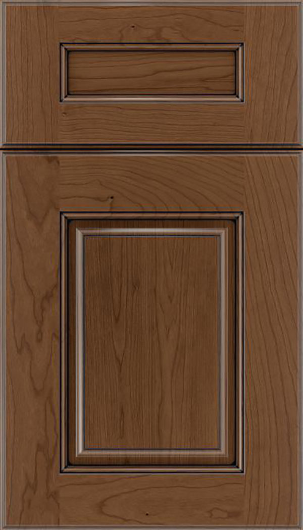 Whittington 5pc Cherry raised panel cabinet door in Toffee with Black glaze