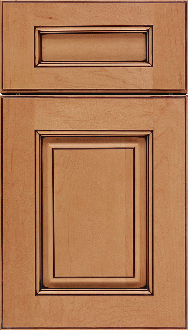 Whittington 5pc Maple raised panel cabinet door in Ginger with Mocha glaze