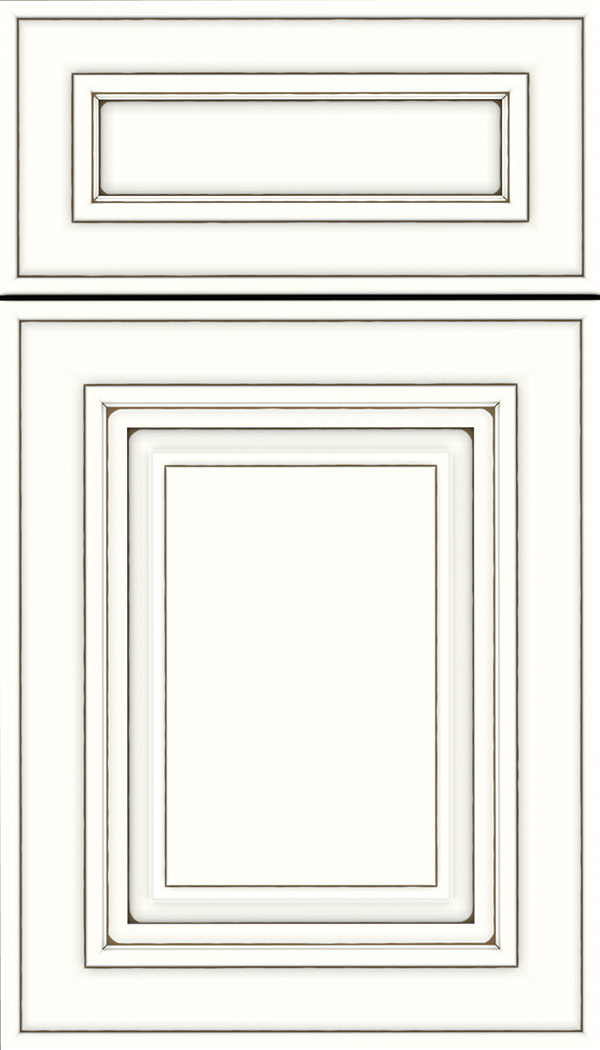 Regency 5pc Maple raised panel cabinet door in Alabaster with Smoke glaze