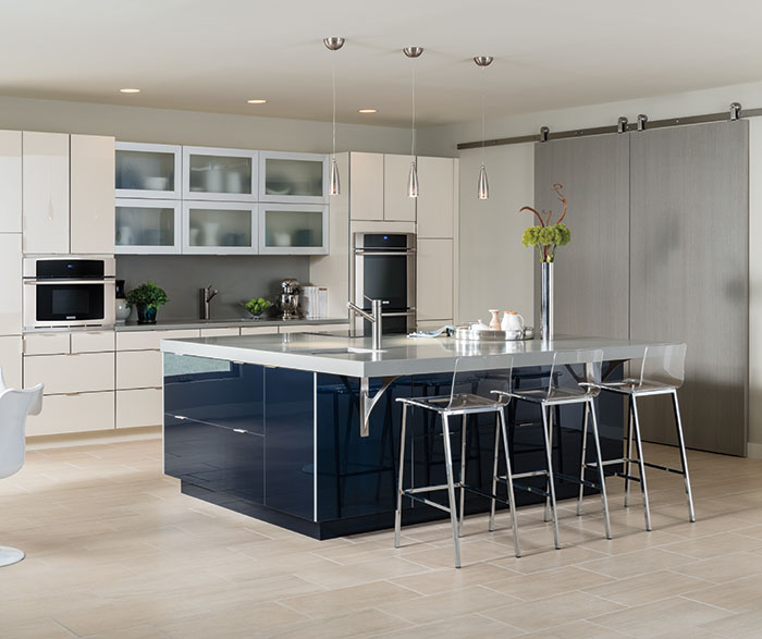 Contemporary Kitchen Acrylic Indigo and Calais K2